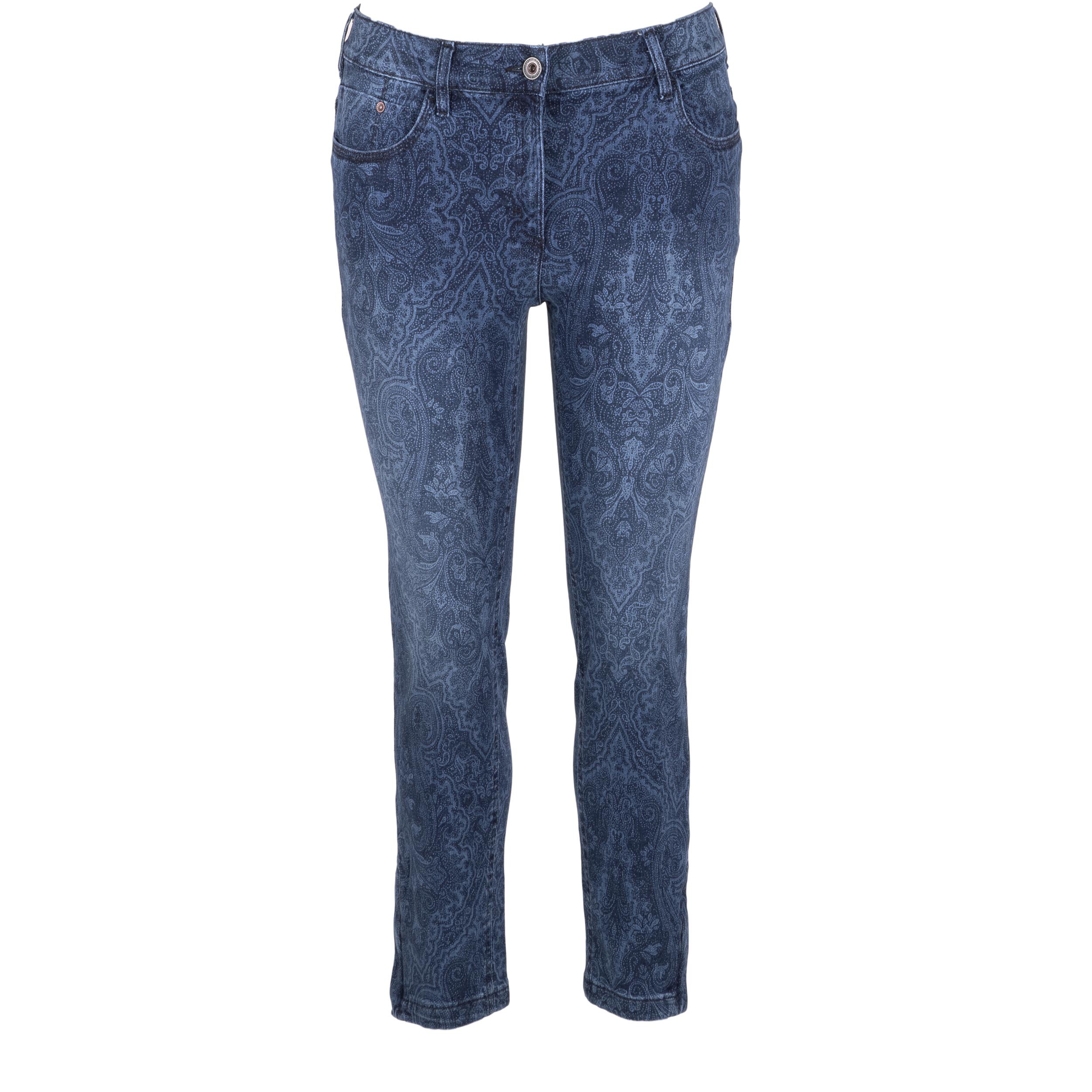 Zerres Damen Jeans Carla gemustert 7/8 Länge - blau 46